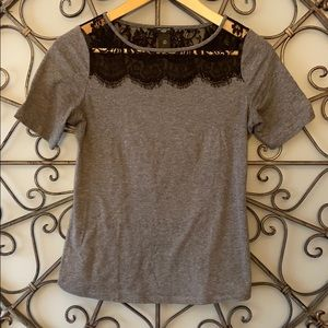 Dark gray tee with black lace detail